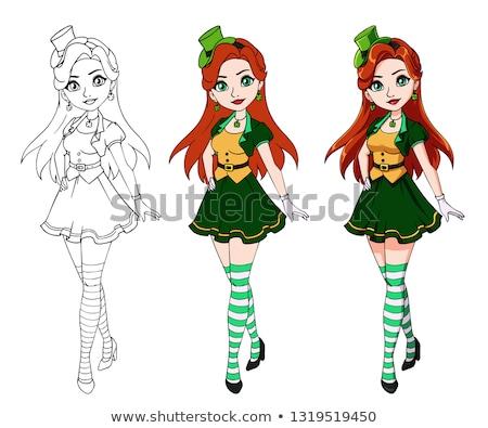 Red hair girl in Saint Patrick's Day leprechaun party hat Stock photo © mrakor