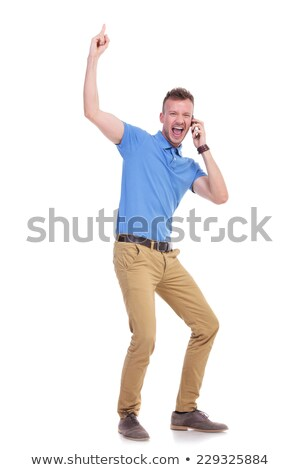 Stock photo: man yelling over the phone