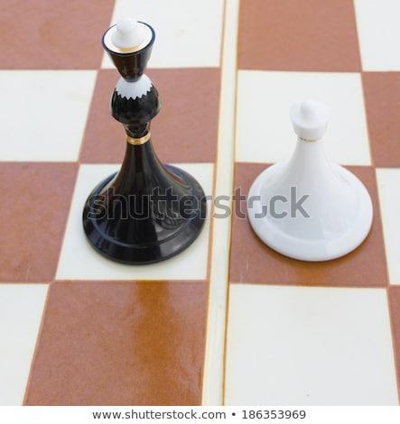 Negro blanco peón tablero de ajedrez campo poder Foto stock © neirfy