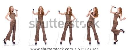 Foto stock: Jóvenes · femenino · cantante · blanco · fiesta · feliz