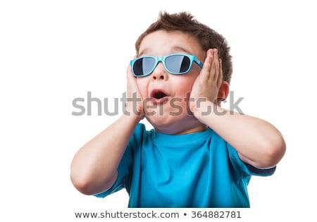 美 笑みを浮かべて 子 少年 サングラス 白 ストックフォト © inxti