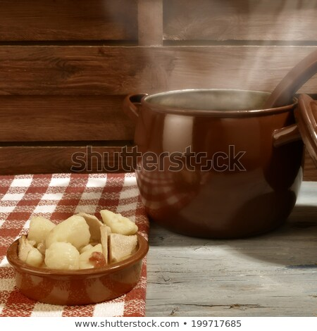 Stew potatoes and fish in clay plate ration Stock photo © marimorena