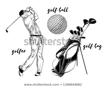Sketch golfertargeting to hit the ball Stock photo © kali