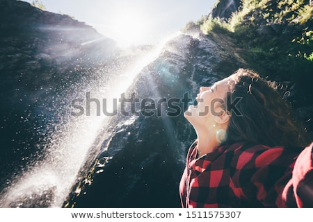 Hispanic Woman Waterfall Stock photo © hlehnerer