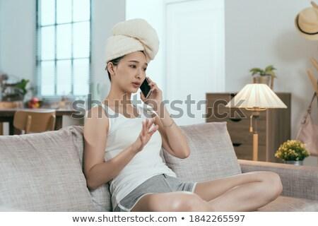 сидят · диван · говорить · телефон · детей - Сток-фото © dash