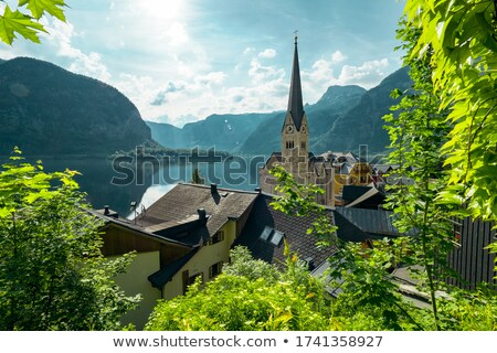 vue · village · lac · alpes · derrière · Autriche - photo stock © pixachi