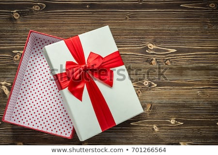 Overhead Gift Box on Wood Stock photo © frannyanne