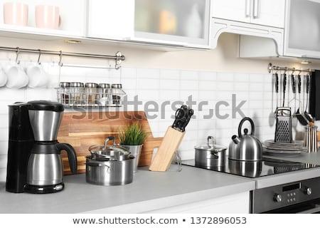 mutfak · tava · çelik · işlemek · gıda - stok fotoğraf © mr_vector