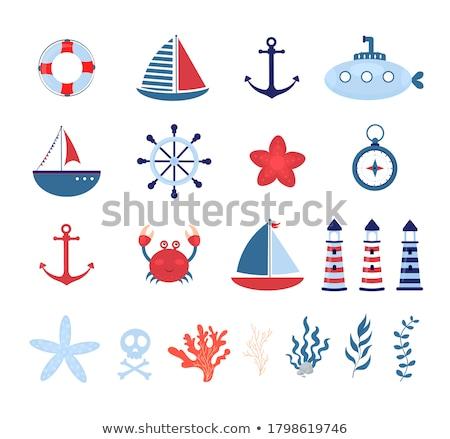морской стилизованный парусного Веревки фон древесины Сток-фото © tracer