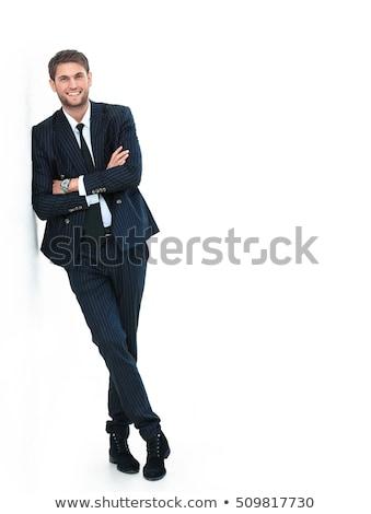 férfi · fekete · bőr · szemüveg · húz · póló - stock fotó © feedough
