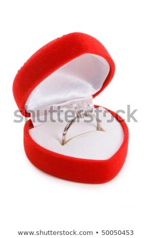 Piros szív alakú ékszer doboz közelkép Stock fotó © devon