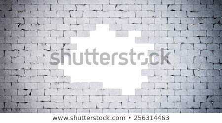 Broken Brick Wall. Isolated. Contains clipping path Stock photo © Kirill_M