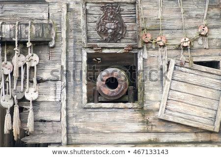 piraat · schip · zeilen · retro · illustratie · lint - stockfoto © bigalbaloo