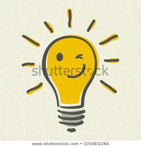 Vektor villanykörték érzelmek emotikonok izolált fehér Stock fotó © X-etra