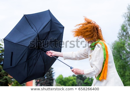 woman holding umbrella in a strong wind stock photo © deandrobot
