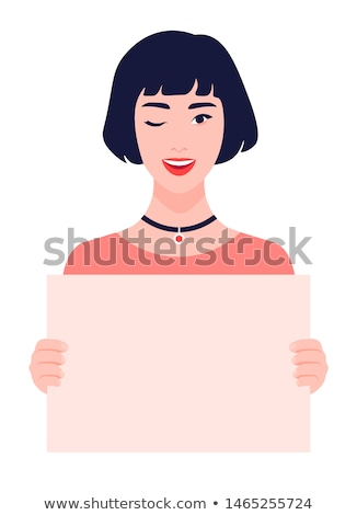 Woman holding board with text and winking Stock photo © deandrobot