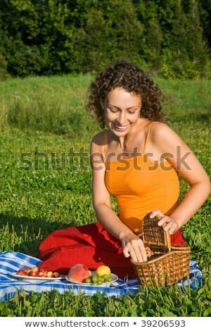 młodych · kobiet · koszyka · owoce · ogród · dziewczyna · wiosną - zdjęcia stock © Paha_L