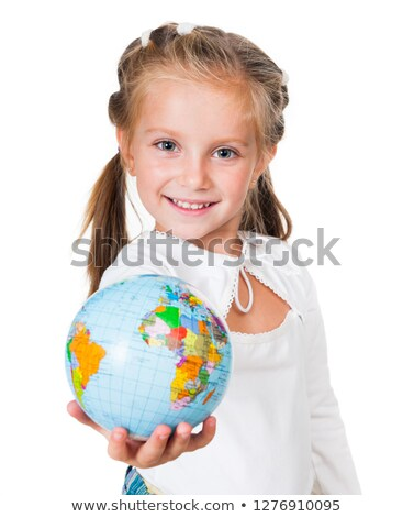 portrait of little girl with globe stock photo © paha_l