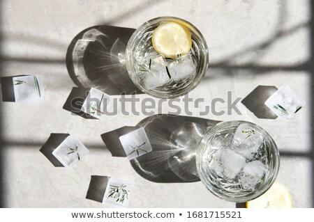 üveg hideg víz fa asztal stock fotó Stock fotó © nalinratphi