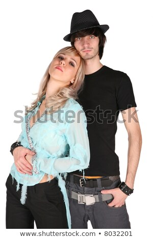 boy in black hat embraces girl in cyan blouse on white Stock photo © Paha_L