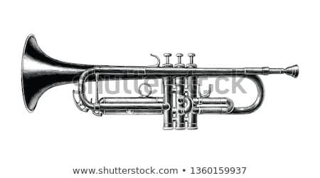 Foto stock: Vector · trompeta · color · jazz · sonido · blanco