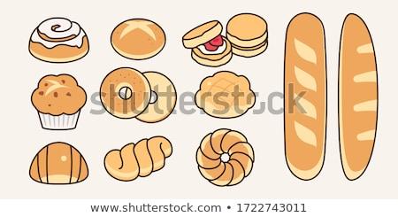 Barna francia kenyér zsemle fájdalom kenyér izolált Stock fotó © Digifoodstock