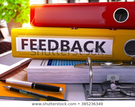 Rojo anillo feedback de trabajo mesa Foto stock © tashatuvango