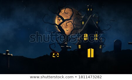 3d halloween castle with bats in the sky stock photo © kjpargeter