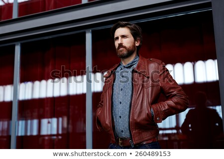 Reifer Mann posiert Lederjacke isoliert Studio Stock foto © feedough