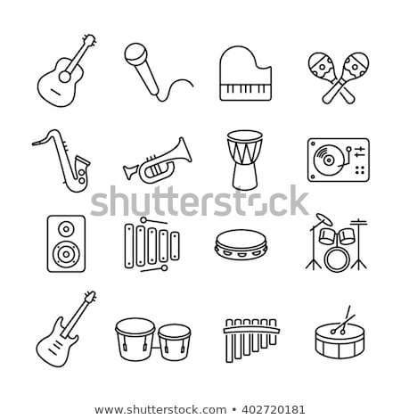 drum instrument line icon stock photo © rastudio