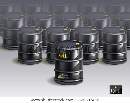 big group of black new oil barrels. vector stock photo © Samoilik