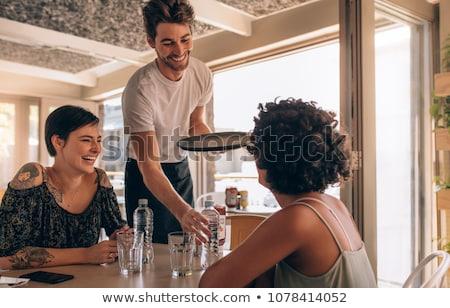Két nő ül kávézó ivóvíz kettő csinos Stock fotó © deandrobot