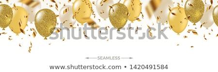 Stok fotoğraf: Altın · balonlar · düşen · konfeti · tatil · renkli