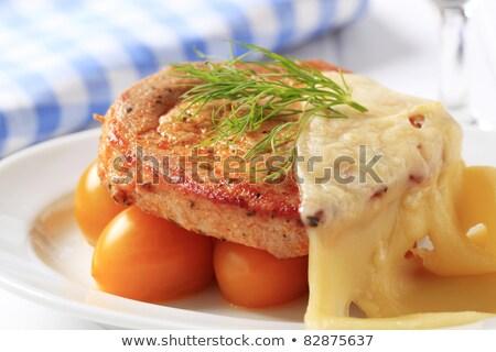 Marinált disznóhús kotlett sajt szeletek hús Stock fotó © Digifoodstock