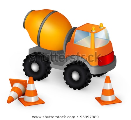 orange toy cement mixer stock photo © mybaitshop