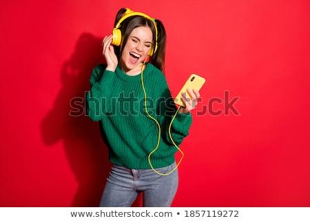 Vrouwelijke zanger Rood illustratie vrouw muziek Stockfoto © bluering