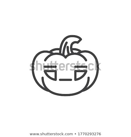 Halloween pumpkin thin line emoji emoticons Stock photo © vectorikart
