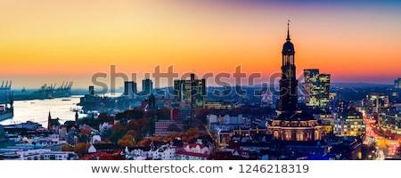 aerial of Hamburg with harbor  Stock photo © meinzahn