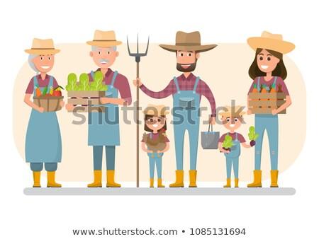 Gazdálkodás család farm mező vektor áll Stock fotó © vectorikart