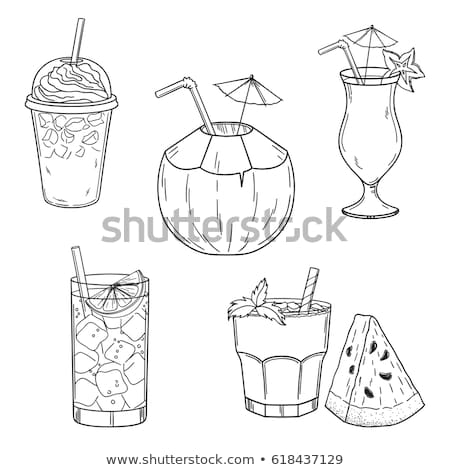 Glass with drinking straw, umbrella sketch icon. Stock photo © RAStudio