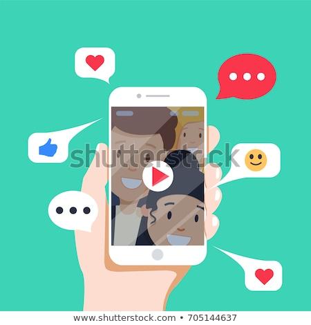 I Love Selfi Phone As A Symbol Of Heart Vector Illustration I