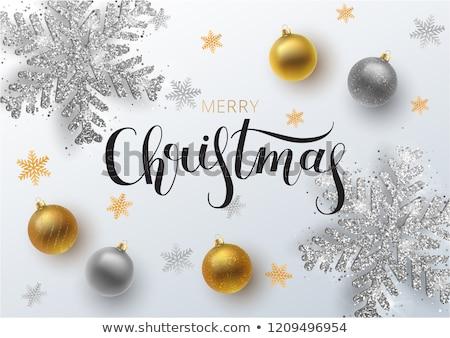Christmas Silver Branch and Metallic Snowflakes Stock photo © dariazu