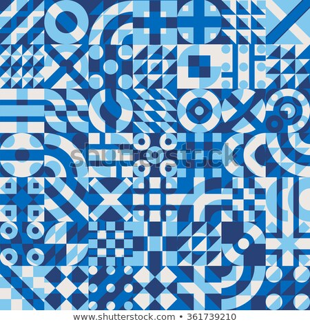 Vector Seamless Navy Blue Color Overlay Irregular Geometric Blocks Square Quilt Pattern Stock photo © Samolevsky