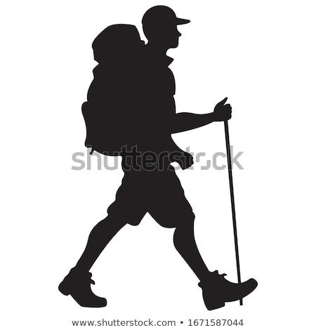 escursionista · zaino · in · spalla · attività · sagome · bene · simbolo - foto d'archivio © comicvector703
