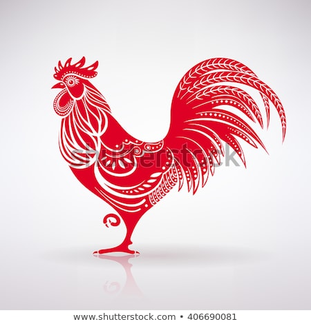 red rooster illustration stock photo © genestro