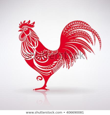 Rouge coq illustration symbole chinois calendrier Photo stock © Genestro