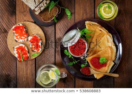 szendvics · lazac · ikra · uborka · petrezselyem · izolált - stock fotó © frimufilms