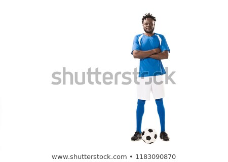 handsome young african sportsman with arms crossed stock photo © deandrobot