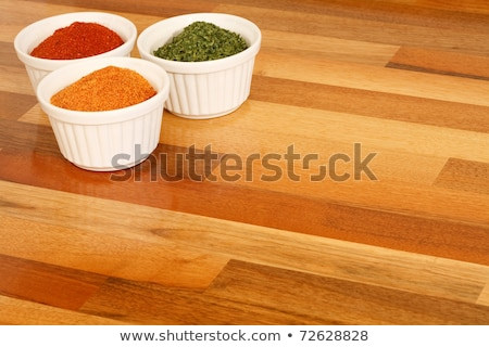 Foto stock: Asian Colorful Powder Spices Close Up On White Wooden Board With Copy Space