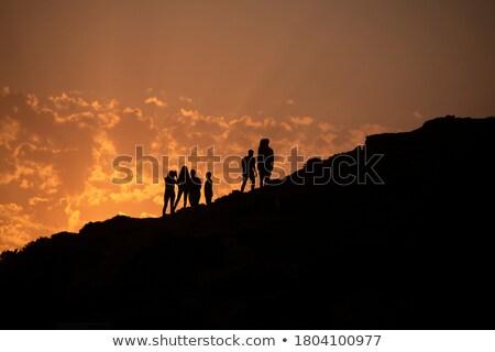 силуэта горные небе закат цифровой композитный счастливым Сток-фото © wavebreak_media